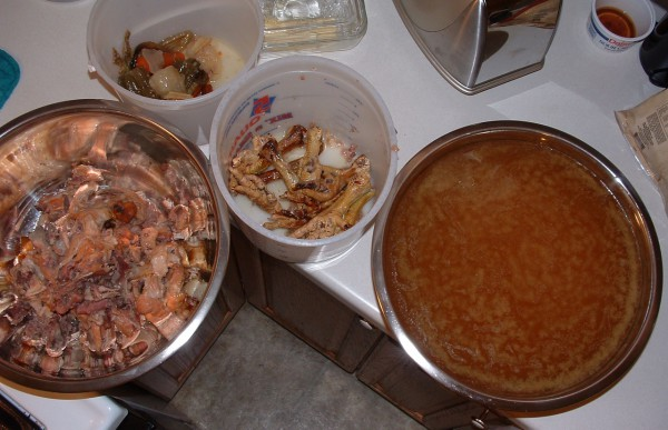 Chicken Stock Separated into Components